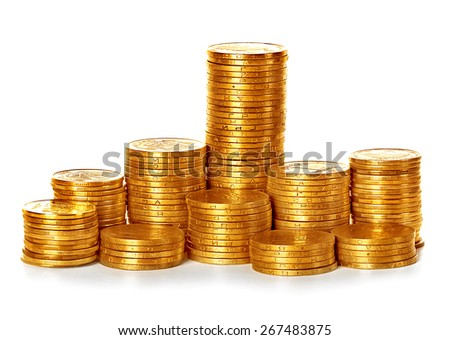 Coins stack isolated on white - stock photo