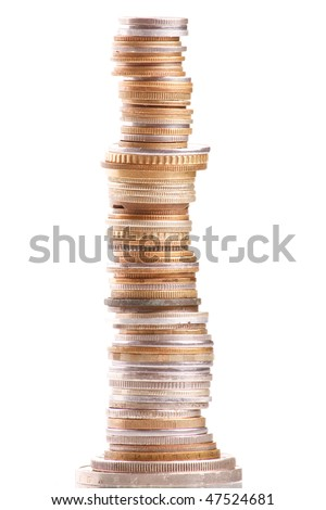 Coins stacks close-up