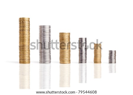 coins stacks isolated on white - stock photo