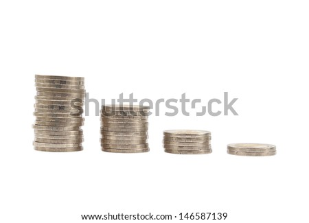 Coins Steps Thai Baht on white background (with clipping path)