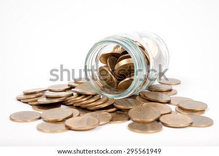 coins thai baht in glass bottle on white background, saving concept