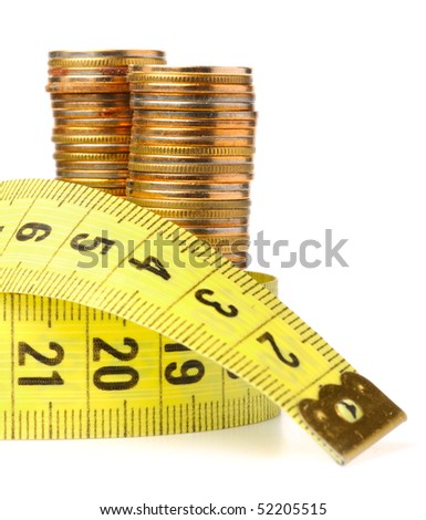 coins with meter isolated on white - stock photo