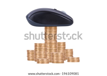 Coins with wireless computer mouse, isolated on white background. - stock photo