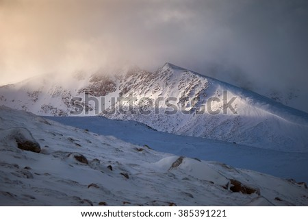 Coire an Lochain & Coire an Sneachda above the ski centre, Cairngorms  in the Scottish Highlands, UK.