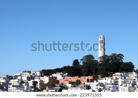 Coit Tower viewed from Lombard Street in San Francisco, California - stock photo