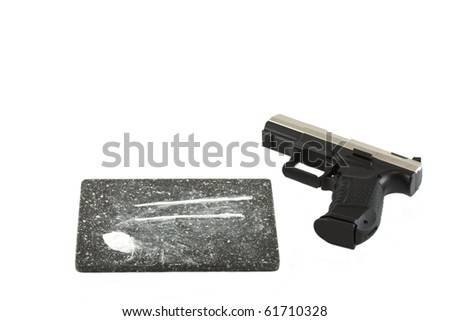 Coke with a gun isolated on a white background - stock photo