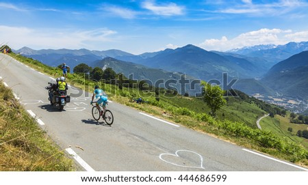 COL D'ASPIN,FRANCE - JUL 15: The Ukarainian cyclist Andriy Grivko of Astana Team, climbing,the road to Col D'Aspin in Pyrenees during the stage 11 of Le Tour de France on July 15, 2015.