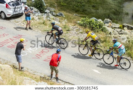 COL DE LA CROIX DE FER, FRANCE - JULY 25: Porte,Froome and Nibali at Col de la Croix de Fer in Alps during the stage 20 of Le Tour de France on 25 July 2015.  - stock photo