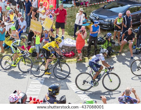COL DU GLANDON, FRANCE - JUL 23: Group of favorites cyclists, including Chris Froome in Yellow Jersey, riding on the road to Col du Glandon in Alps during the stage 18 of Le Tour de France 2015.