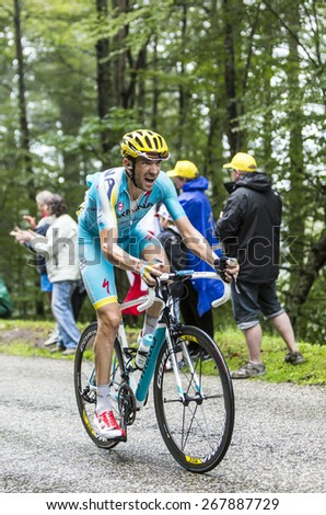 COL DU PLATZERWASEL,FRANCE - JUL 14: The cyclist Alessandro Vanotti of Astana Team, climbing the mountain pass Platzerwasel in Vosges Mountains during the stage 10 of Le Tour de France on July 14 2014 - stock photo