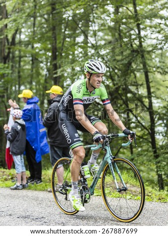 COL DU PLATZERWASEL,FRANCE - JUL 14:The cyclist Lars Boom ( Belkin Pro Cycling), climbing the mountain pass Platzerwasel in Vosges Mountains during the stage 10 of Le Tour de France on July 14 2014 - stock photo