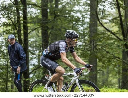 COL DU PLATZERWASEL,FRANCE - JUL 14:The Spanish cyclist Markel Irizar Arranburu (Trek Factory) on the road to mountain pass Platzerwasel, Vosges Mountains,during Le Tour de France on July 14 2014  - stock photo