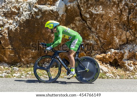 COL DU SERRE DE TOURRE, FRANCE - JUL 15: The Slovak cyclist Peter Sagan of Tinkoff Team, in Green Jersey, riding jn an individual time trial stage on Col du Serre de Tourre during Tour de France 2016
