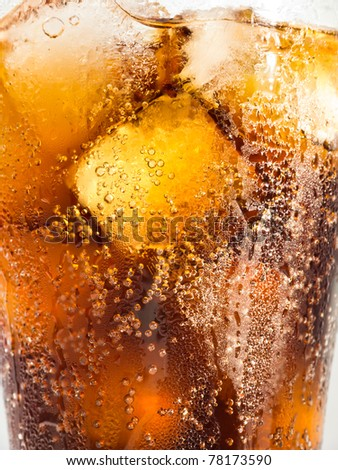 Cola and Ice Close Up - stock photo