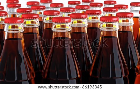 cola bottles (depth of field) - stock photo