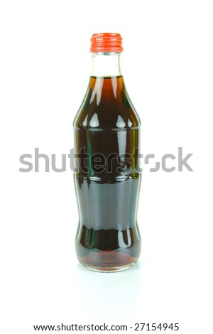 Cola bottles isolated against a white background - stock photo