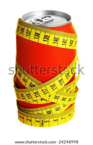 Cola can and measuring tape isolated over white background