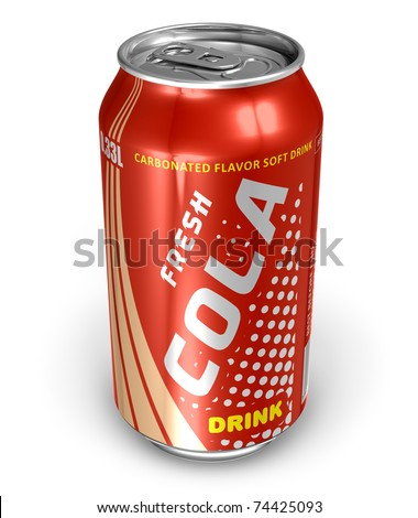 Cola drink in metal can - stock photo