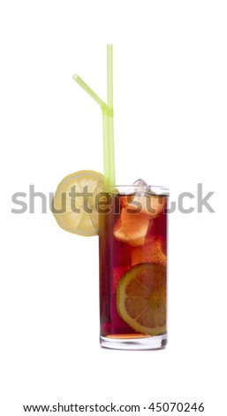 Cola Drink with lemon on white ground - stock photo
