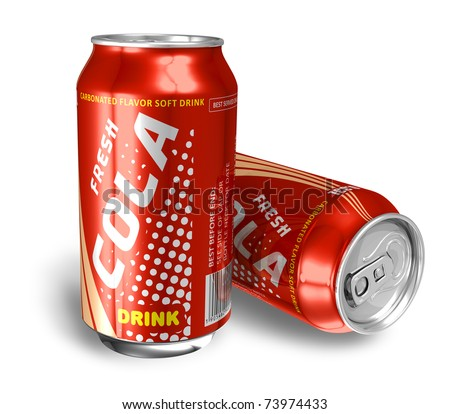 Cola drinks in metal cans - stock photo