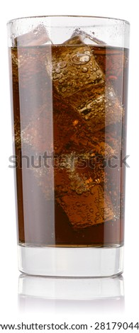 Cola glass. Isolated on white background. File contains a path to cut. - stock photo