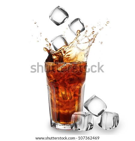 Cola glass with falling ice cubes over white - stock photo