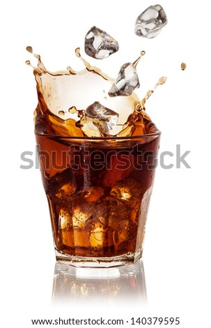 Cola glass with falling ice cubes over white. With clipping path - stock photo