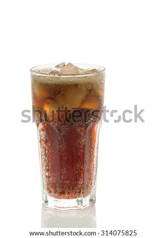Cola glass with ice cubes isolated  on a white background