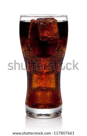 Cola glass with ice cubes on a white background. The file includes a clipping path. - stock photo