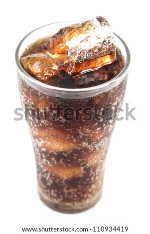 Cola glass with ice  isolated on white background - stock photo