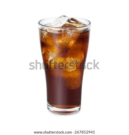 Cola glass with ice on a white background
