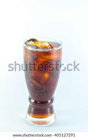Cola glass with ice on a white background - stock photo