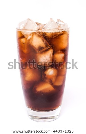 Cola in a glass with dancing bubbles on ice cubes isolated on white background