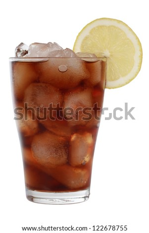 Cola in a glass with ice cubes, isolated on white