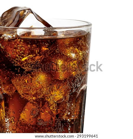 Cola in glass with ice cubes detail on white background including clipping path - stock photo