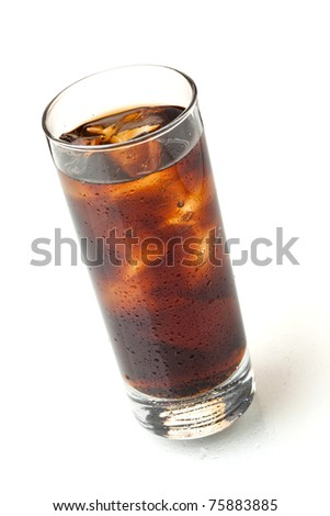 Cola in highball glass, above view, isolated on white background