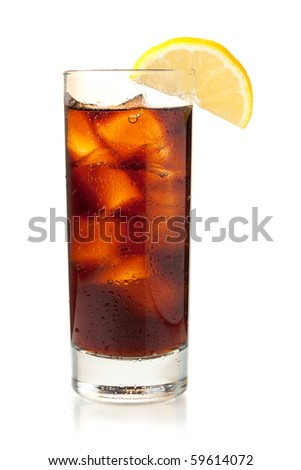 Cola in highball glass with lemon slice. Isolated on white background