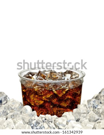 Cola in takeaway cup with ice pile on white copy space  - stock photo