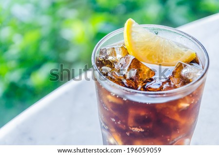 Cola lemon glass - stock photo