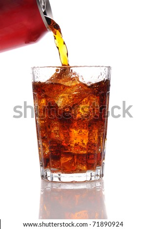 Cola pouring from a can into a glass filled with Ice. Vertical format isolated over a white background.