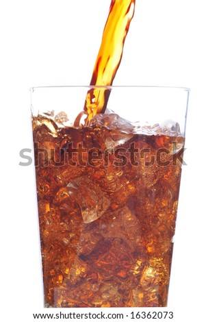 Cola Pouring into a Glass Filled with Ice