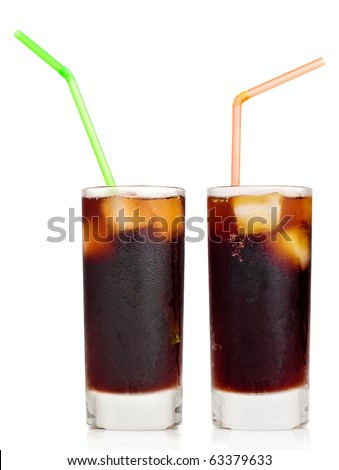 Cola soft drink with ice or Cuba libre with a drinking straw on a white background with reflections - stock photo