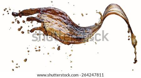 Cola splash isolated on white - stock photo