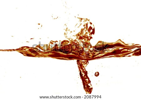 Cola splash on white background - stock photo