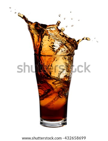 Cola splashing out of a glass., Isolated white background.