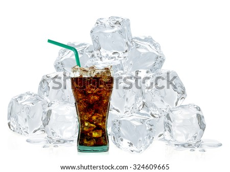 Cola with crushed ice and straw in glass isolated on white background  - stock photo