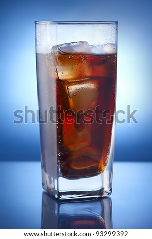 Cola with ice - stock photo