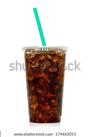 Cola with ice and straw in takeaway cup on white background - stock photo