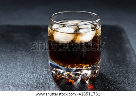 cola with ice in a glass, horizontal