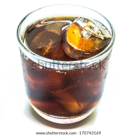 Cola with ice in  cup on white background - stock photo